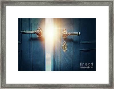 Open Blue Door Framed Print