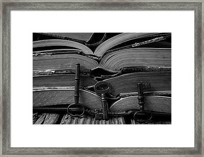 Open Books With Keys Framed Print