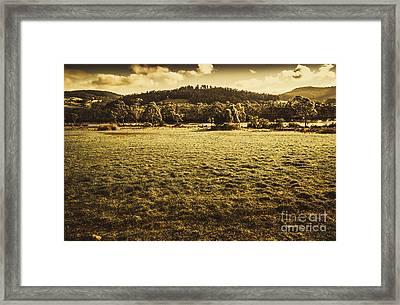 Open Fields Of Woodstock Tasmania Framed Print