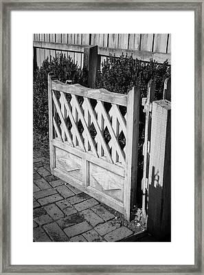 Open Garden Gate B W Framed Print
