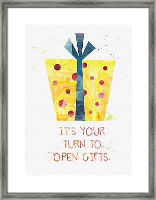 Open Gifts- Card Framed Print by Linda Woods