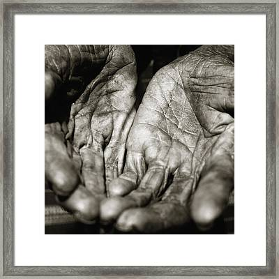 Two Old Hands Framed Print by Skip Nall
