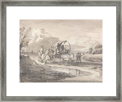 Open Landscape With Horsemen And Covered Cart Framed Print by Thomas Gainsborough