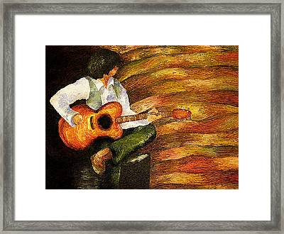 Framed Print featuring the painting Open Mic Night by Meagan  Visser