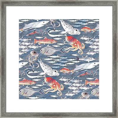 Open Sea, Repeat Pattern Framed Print by Jacqueline Colley