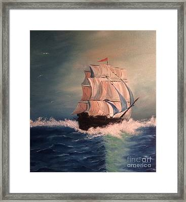 Framed Print featuring the painting Open Seas by Denise Tomasura
