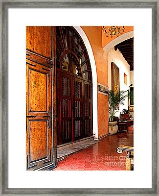 Open To The Courtyard Framed Print by Mexicolors Art Photography