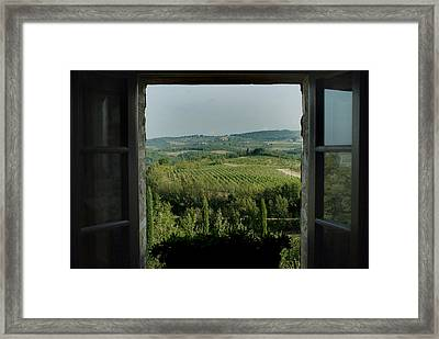 Open Window Looking Out On The Tuscan Framed Print by Todd Gipstein