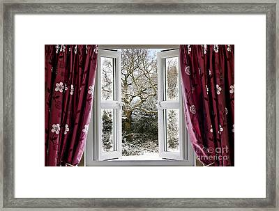 Open Window With Winter Scene Framed Print by Simon Bratt Photography LRPS