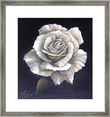 Framed Print featuring the painting Opened Rose by Natalia Tejera