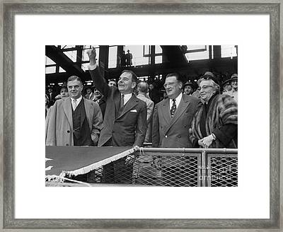 Opening Ceremonies At Dodger Pittsburgh Game At Ebbets Field Framed Print by Barney Stein