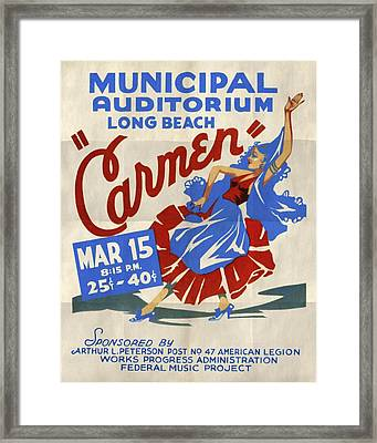 Opera Carmen In Long Beach - Vintage Poster Folded Framed Print