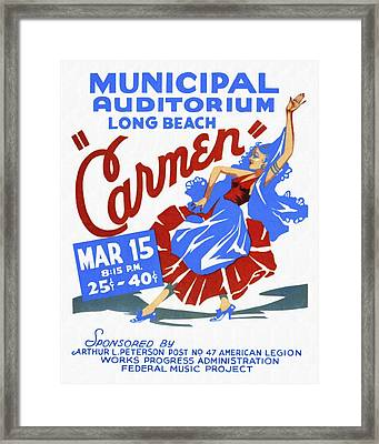 Opera Carmen In Long Beach - Vintage Poster Restored Framed Print