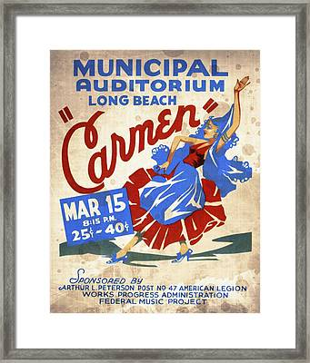 Opera Carmen In Long Beach - Vintage Poster Vintagelized Framed Print
