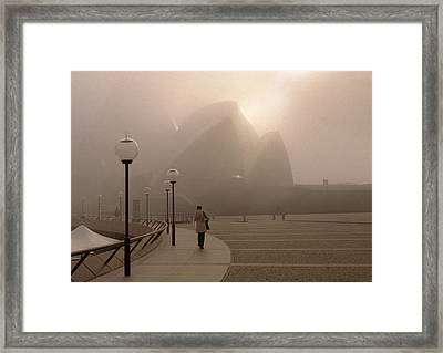 Opera House In The Fog Framed Print by Barry Culling