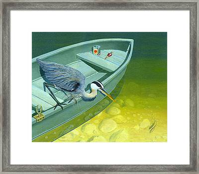 Opportunity-the Great Blue Heron Framed Print by Gary Giacomelli