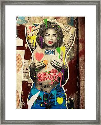 Oprah Winfrey Graffiti In New York  Framed Print
