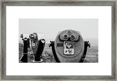 Framed Print featuring the photograph Optical Coin Operated Binoculars At Chatham Beach Cape Cod by Edward Fielding