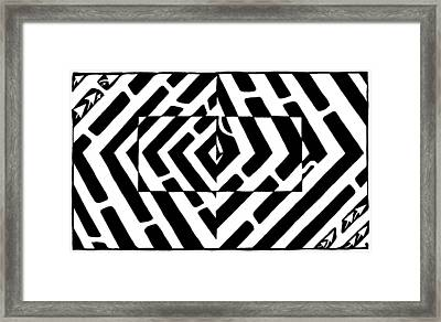 Optical Illusion Maze Of Floating Box Framed Print by Yonatan Frimer Maze Artist