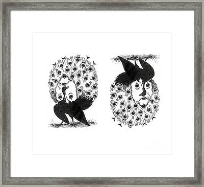 Optical Illusion, Peacock And Mr Framed Print by Science Source