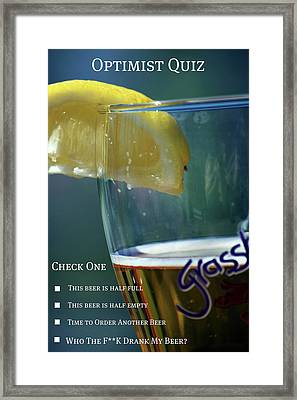 Optimist Quiz Framed Print by Lisa Knechtel