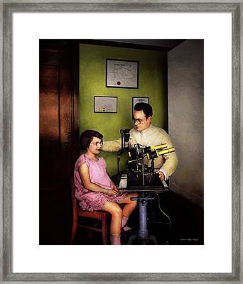 Optometrist - The Eye Exam 1929 Framed Print