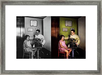 Optometrist - The Eye Exam 1929 - Side By Side Framed Print
