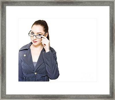 Optometry Concept With Optician Holding Eyewear Framed Print