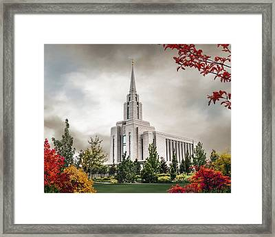 Oquirrh Mountain Temple Framed Print by Brent Borup