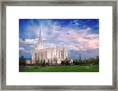 Oquirrh Mt Temple Framed Print by La Rae  Roberts