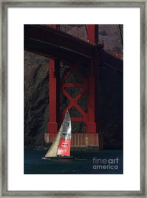 Oracle Racing Team Usa 76 America's Cup Sailboat Under The Sf Golden Gate Bridge - 7d19084 Framed Print by Wingsdomain Art and Photography