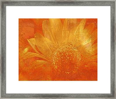 Framed Print featuring the digital art Orange Abstract Flower by Fine Art By Andrew David
