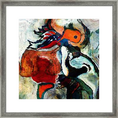 Orange Abstract Painting / Surrealist Art Framed Print