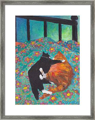 Orange And Black Cats - Siesta On Teal Framed Print by Peggy Johnson