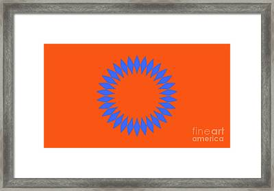 Orange And Blue Abstract Circle Landscape Framed Print by Pablo Franchi