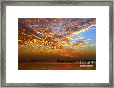 Orange And Blue Downtown Sunrise Framed Print