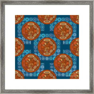 Orange And Blue Pattern Framed Print by Gaspar Avila