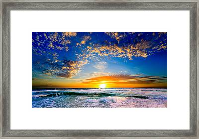 Framed Print featuring the photograph Orange And Blue Sunset Sun Setting Over The Ocean by Eszra Tanner