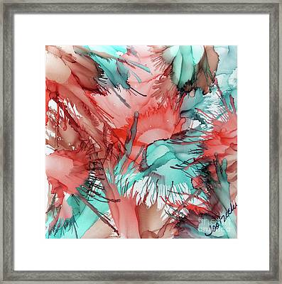 Salmon And Sea Blended Ink Framed Print by Jo Ann Bossems