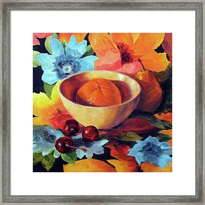 Orange And Cherries Framed Print by Marina Petro