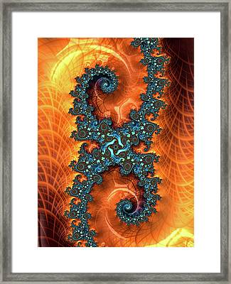 Framed Print featuring the digital art Orange And Cyan Fractal Art by Matthias Hauser