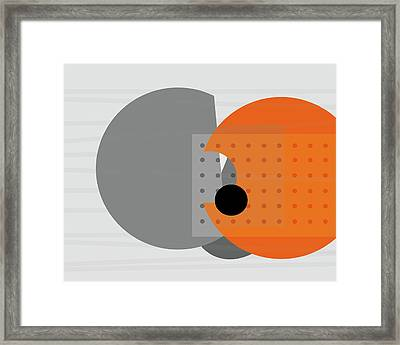 Orange And Gray Abstract Art Framed Print by Ann Powell