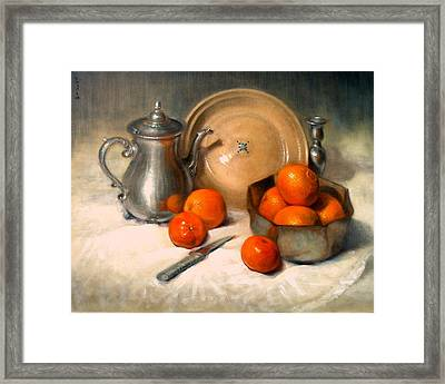 Orange And Gray Framed Print by Donelli  DiMaria