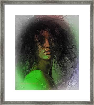 Orange And Green Framed Print by Moustafa Al Hatter