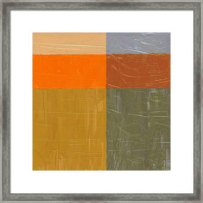 Orange And Grey Framed Print by Michelle Calkins
