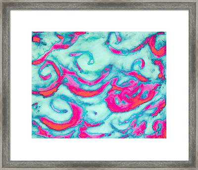 Orange And Pink Waves Framed Print by Samantha Thome