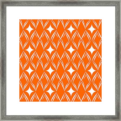 Orange And White Diamonds Framed Print by Linda Woods