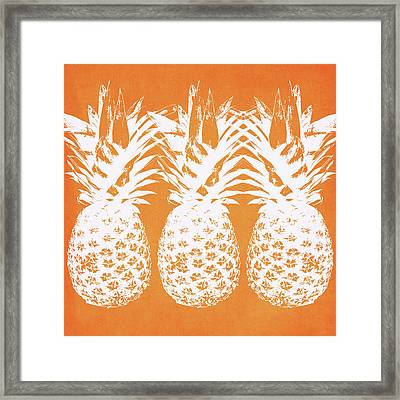Orange And White Pineapples- Art By Linda Woods Framed Print