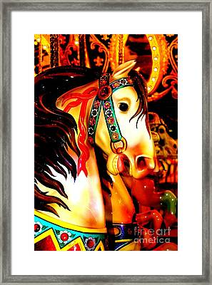 Orange And Yellow Carousel Horse Framed Print