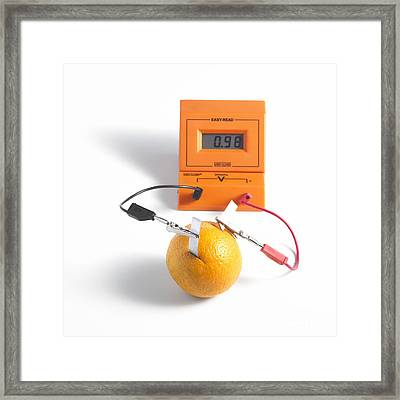 Orange Battery Framed Print by Spl
